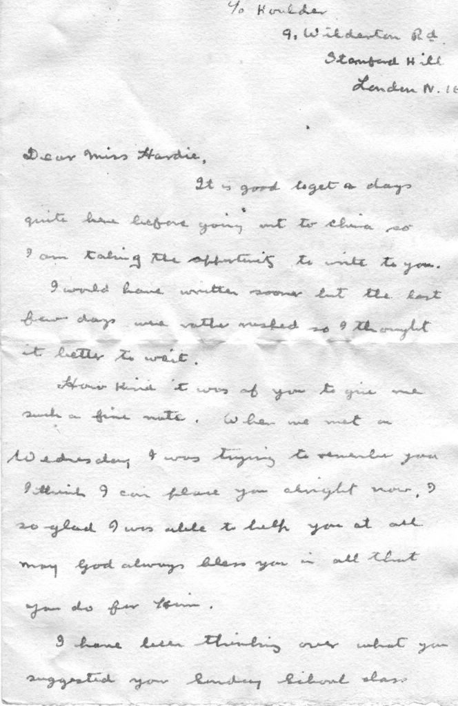 Letter to Effie Hardie