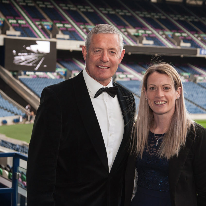 Gavin Hastings OBE and Eilidh Doyle host the Eric Liddell Centre Gala Dinner, 'Going for Gold', at the BT Murrayfield Stadium. 26 Apr 2019. Copyright photograph by Tina Norris 07775 593 830. ** FURTHER INFO: JOHN MacMILLAN, CEO, Eric Liddell Centre: macmillanj@ericliddell.org